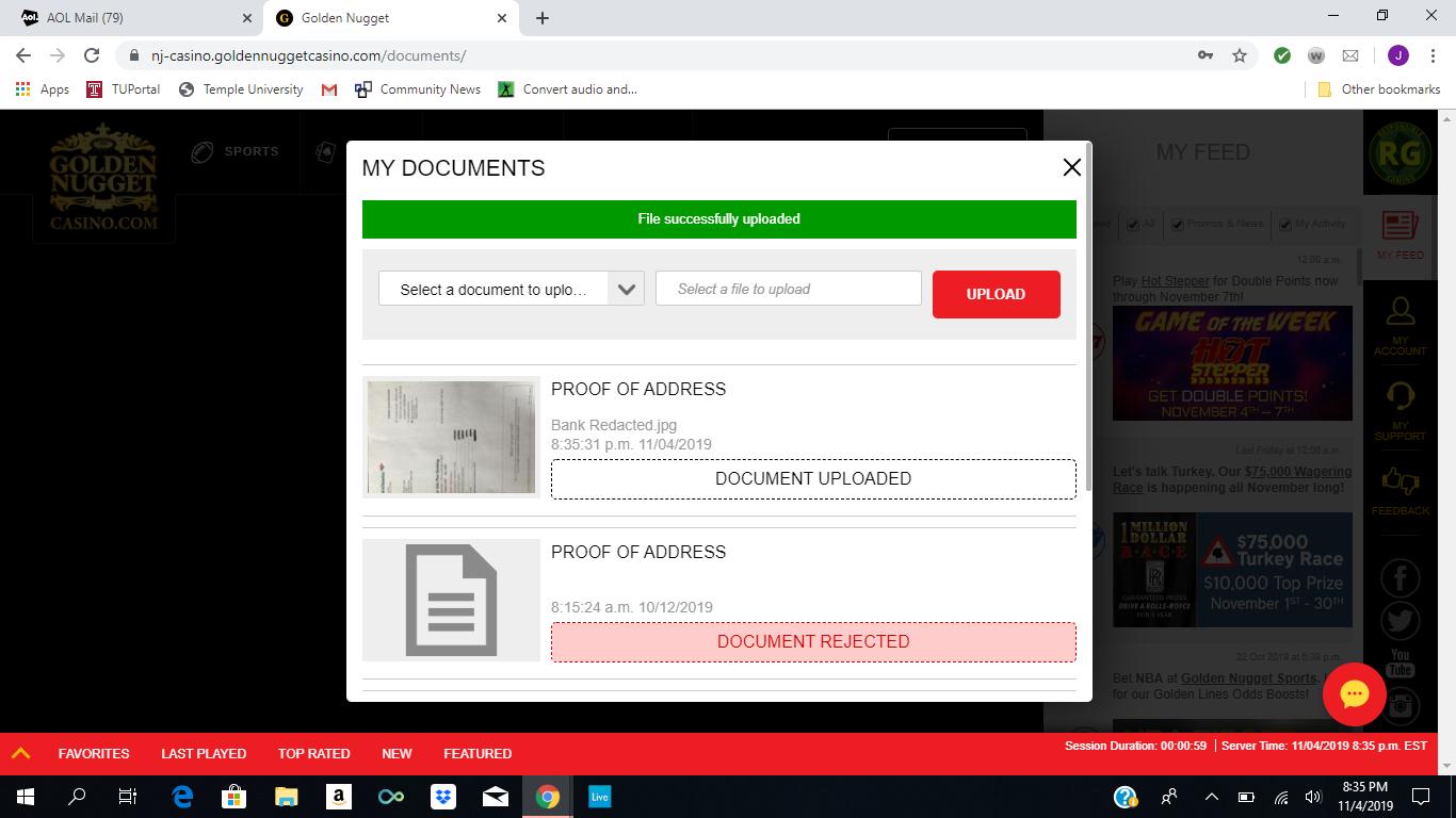 Screenshot Golden Nugget NJ Online Casino Verification