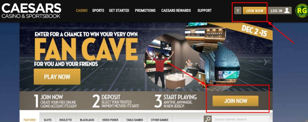caesars nj online casino registration
